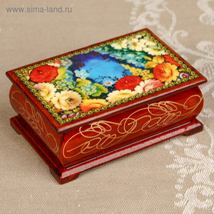 Шкатулка «Цветы 13», лаковая миниатюра, 6х9 см