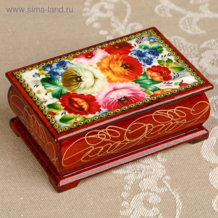 Шкатулка «Цветы 20», лаковая миниатюра, 6х9 см