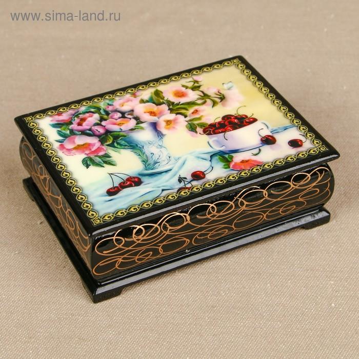 Шкатулка «Цветы 22», лаковая миниатюра, 8х10,5 см