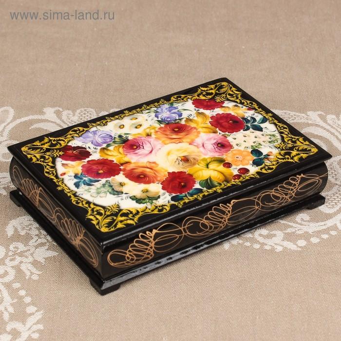 Шкатулка «Цветы 10», лаковая миниатюра, 11х16 см
