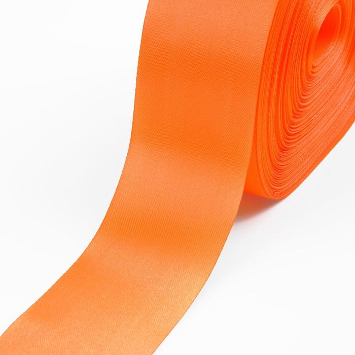 Лента атласная, 50 мм, 100±5 м, цвет оранжевый