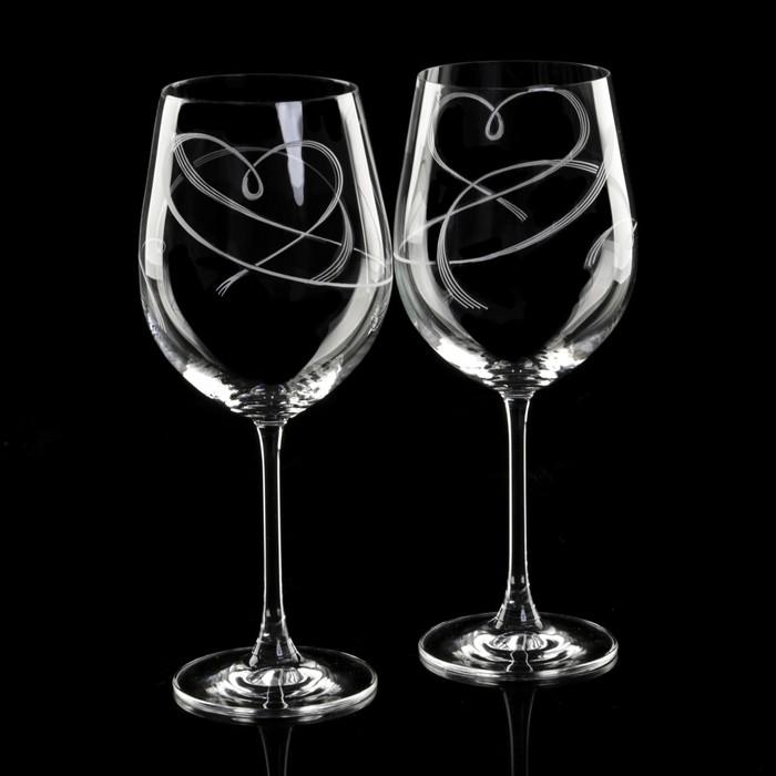 "Набор  бокалов для вина 610 мл ""Вальс сердец"", 2 шт"