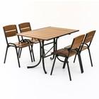 Комплект мебели «Петергоф» (1 стол + 4 стула) 120 см, светлый