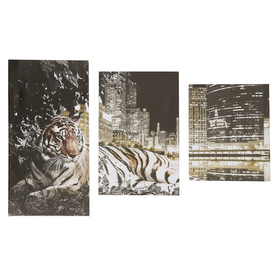 "Модульная картина ""Тигр и город""  26х31, 26х50 и 26х40,  78*50 см"