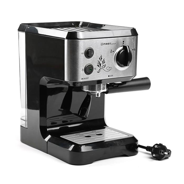 Кофеварка FIRST FA-5476-1, рожковая, 1050 Вт, 1.25 л, капучинатор, чёрная