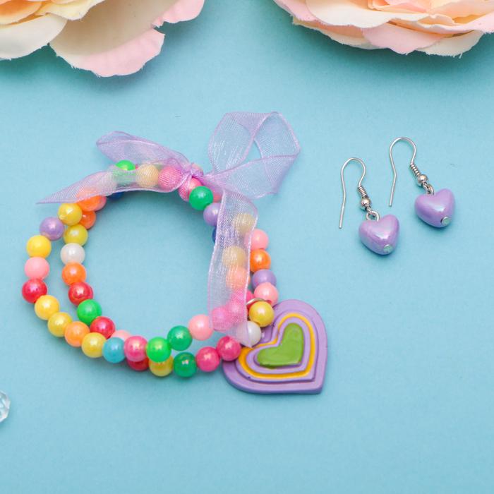 """Набор детский """"Выбражулька"""" 2 предмета: серьги, браслет, сердечки радужные"""