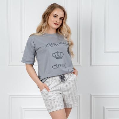 Комплект женский (футболка, шорты) 282 Каролина №2, цвет серый, р-р 52