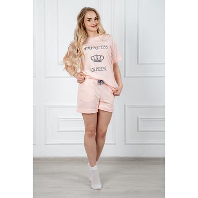 Комплект женский (футболка, шорты) 282 Каролина №2, цвет розовый, р-р 42