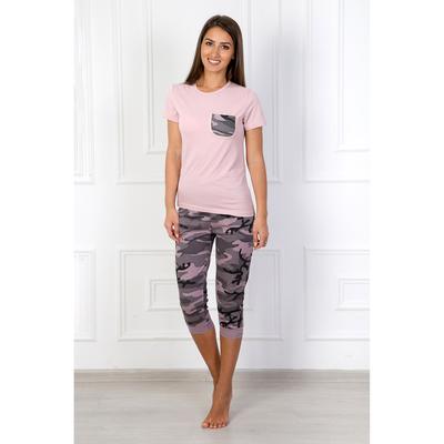 Комплект женский (футболка, бриджи) 300 Камуфляж № 5 цвет розовый, р-р 50