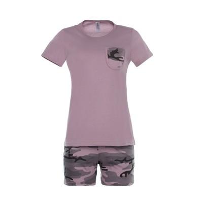 Комплект женский (футболка, шорты) 300 Камуфляж № 3 цвет розовый р-р 48