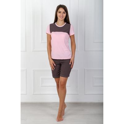 Пижама женская (футболка, шорты) 195 Пелагея цвет розовый, р-р 52