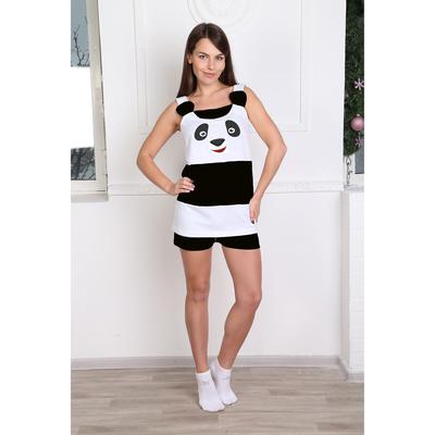 Пижама женская (майка, шорты) 137 цвет чёрно-белый, р-р 42