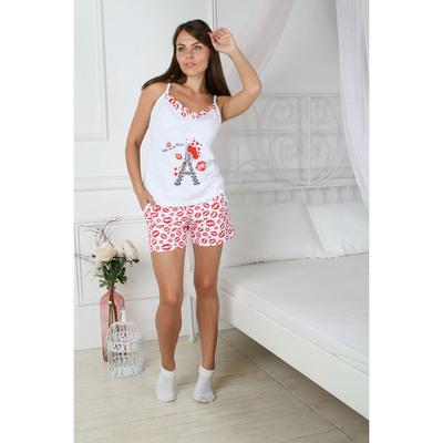 Пижама женская (майка, шорты) 112 Париж цвет белый/красный р-р 48