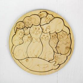 Пазл-раскраска «Коты», d= 20 см, фанера — 3 мм