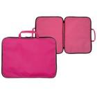 Папка А3 с ручками текстильная 470х350х20 мм ПМ-3/10 600D, Розовая