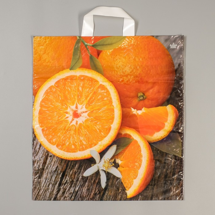 """Пакет """"Свежий апельсин"""", полиэтиленовый с петлевой ручкой, 43 х 40 см, 35 мкм - фото 308291895"""