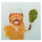 Картина для бани «Собака с веником»,30х30 см
