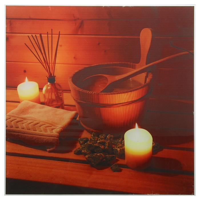 Картина для бани «Интерьер со свечами», 30х30 см