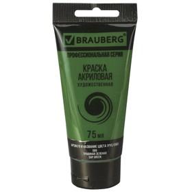 Краска акриловая художественная туба 75 мл BRAUBERG «Травяная зелёная»