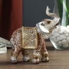 """Сувенир полистоун """"Песочный слон в арабской попоне с поднятым хоботом"""" 11,8х10,5х4,5 см"""