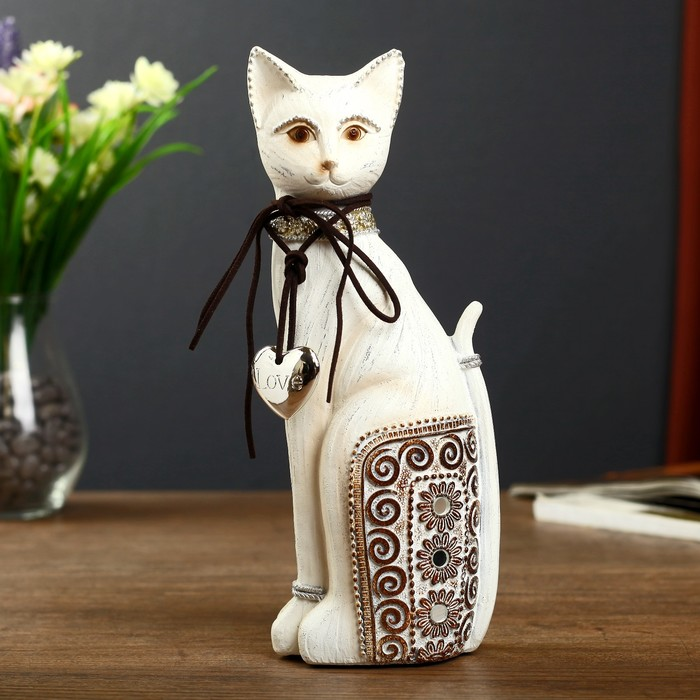 "Сувенир полистоун ""Кошечка с ажурной спинкой и в ошейнике с сердечком"" 25,5х10х7 см - фото 370258043"