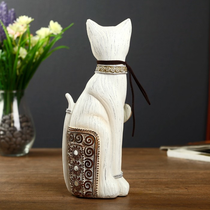 "Сувенир полистоун ""Кошечка с ажурной спинкой и в ошейнике с сердечком"" 25,5х10х7 см - фото 370258045"
