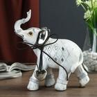 """Сувенир полистоун """"Слон с серебристыми ушами с сердцем на шее"""" 20,2х19,2х7 см"""