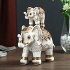"""Сувенир полистоун """"Индийские слоны в оранжево-серой попоне - пирамида"""" 18,8х17х8 см"""