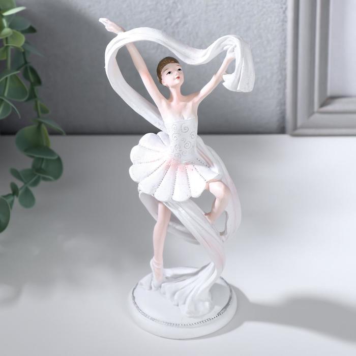 "Сувенир полистоун ""Балерина с белым шарфом"" 16,5х9х6 см - фото 8444076"
