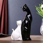 """Сувенир полистоун """"Кошка с котёночком"""" бело-чёрная 21,5х12х5 см"""