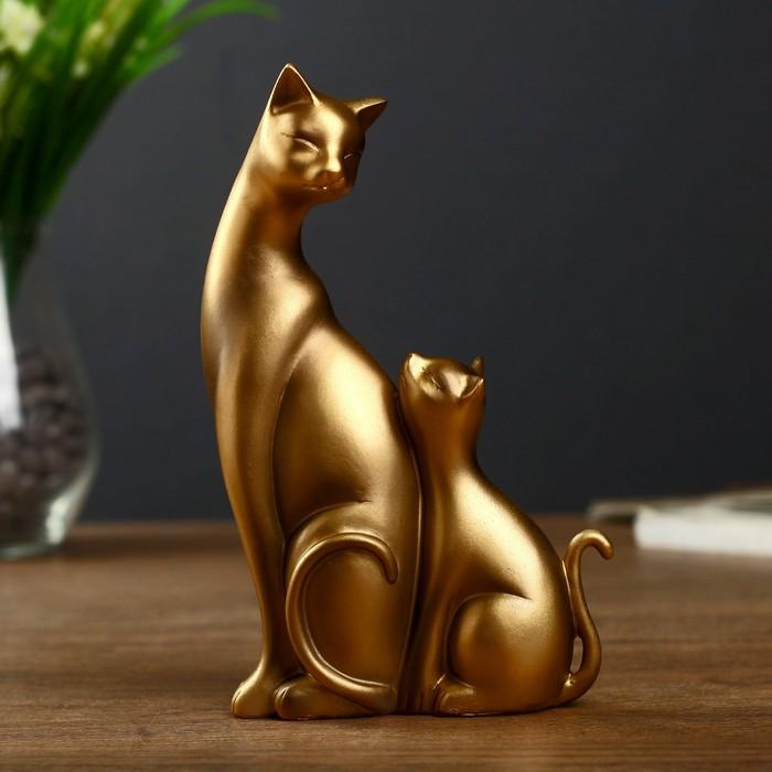 """Сувенир полистоун """"Кошка и котёнок"""" бронза 17х9,5х4 см - фото 373002588"""