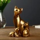 """Сувенир полистоун """"Кошка с котятами"""" бронза 15,5х10,5х8 см"""