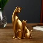 """Сувенир полистоун """"Кошка с котёнком"""" бронза набор 2 шт 16,5х10х4,5 см"""