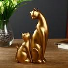 """Сувенир полистоун """"Кошка с маленьким котёнком"""" набор 2 шт бронза 21х12,5х5 см"""
