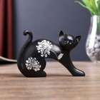 "Сувенир полистоун ""Чёрная кошка"" серебряный цветок 8,5х12х3,5 см"