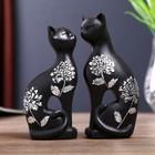 "Сувенир полистоун ""Две чёрных кошки"" серебряный цветок (набор 2 шт) 13,5х12х4 см"