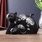 """Сувенир полистоун """"Чёрная кошка с котёнком"""" серебряный цветок (набор 2 шт) 13х19,5х7,5 см"""