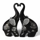 """Сувенир полистоун """"Чёрные слоны с серебр. ушками"""" серебряный цветок (набор 2 шт) 17х5,5х17 см 260066"""