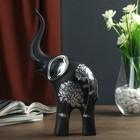"Сувенир полистоун ""Чёрный слон с серебряными ушками"" серебряный цветок 24,5х13,5х6,5 см"