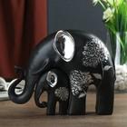 "Сувенир полистоун ""Чёрный слон со слонёнком"" серебряный цветок (набор 2 шт) 15х19х6 см"