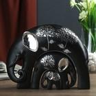 "Сувенир полистоун ""Чёрный слон со слонятами"" серебряный цветок (набор 3 шт) 15,3х20,5х6 см"