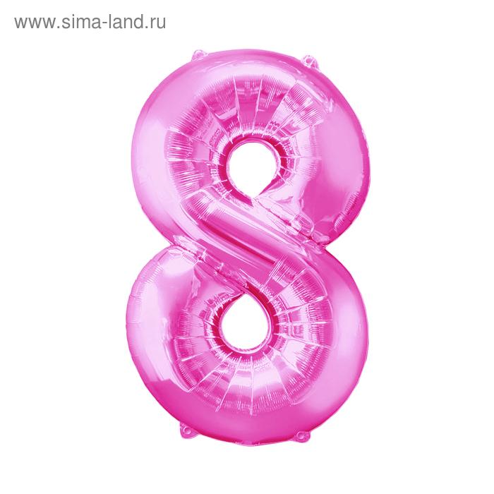 """Шар фольгированный 34"""" """"ЦИФРА 8"""" Розовый, pink А"""