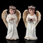 """Сувенир полистоун """"Ангелок в белом с веночком"""" МИКС 10х5,2х3,3 см"""