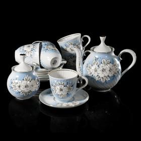 """Сервиз чайный на 6 персон """"Витая. Белые цветы"""", чашки 250 мл, отводка золотом"""