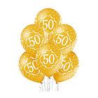 """Шар латексный 14"""" «Цифра 50», пастель, 5-сторонний, набор 25 шт., золотой - фото 951669"""