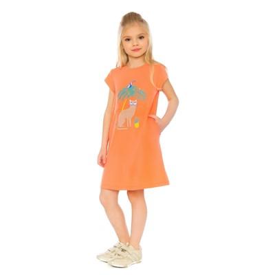 Платье для девочки, рост 110 см, цвет оранжевый