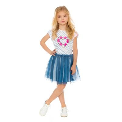 Платье для девочки, рост 110 см, цвет белый/синий