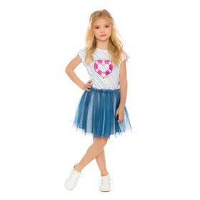 Платье для девочки, рост 134 см, цвет белый/синий SS18-JUZ-194