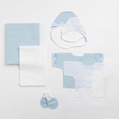 Комплект (2 пелёнки, 2 распашонки, 2 чепчика, царапки) рост 68 см, цвет голубой 0044