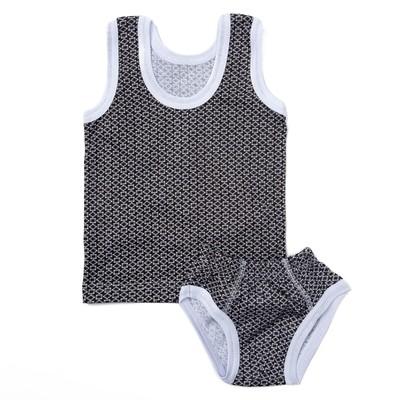 Комплект для мальчика (майка+трусы) рост 86-92 см, цвет серый принт микс 1060-52